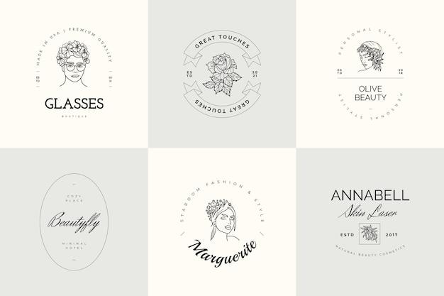 Fiori astratti donne segni vettoriali o modelli di logo