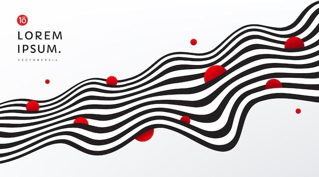 Strisce fluenti astratte linee in bianco e nero a contrasto di sfondo con cerchio rosso decorano