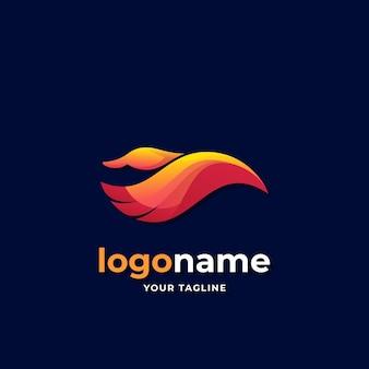 Logo astratto anatra volante stile sfumato