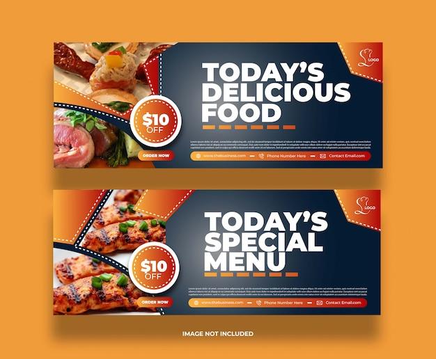Banner di promozione post di concetto di social media ristorante astratto cibo