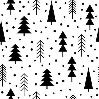 Fondo senza cuciture astratto della foresta. copertina infantile semplice disegnata a mano per carta di design, carta da parati, album, album di ritagli, carta da regalo per le vacanze, tessuto, stampa di borse, t-shirt ecc.