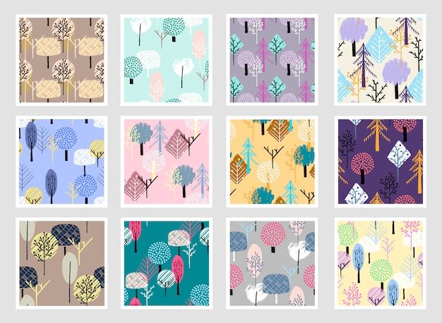 Abstract forest seamless patterns.