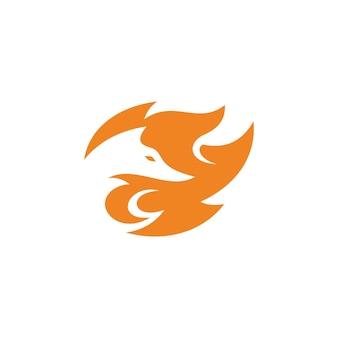 Testa di volpe astratta in spazio negativo e icona di fuoco logo design