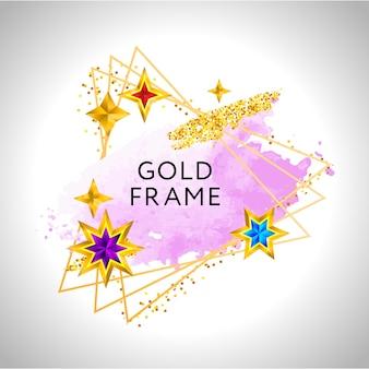 Celebrazione cornice astratta con schizzi ad acquerello rosa e stelle dorate