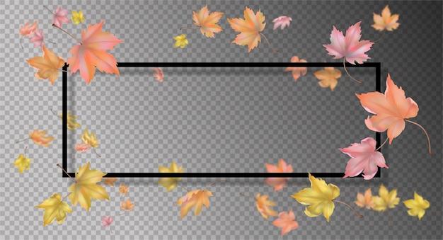 Cornice astratta con foglie d'autunno volanti