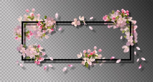 Cornice astratta con con fiori di ciliegio primaverili e petali che cadono Vettore Premium