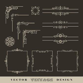 Cornici astratte bordi angoli set di angoli lineari calligrafici vintage e cornici retrò