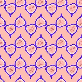 Modello astratto di fichi di frutta. reticolo senza giunte tropicale con fico su sfondo rosa. illustrazione vettoriale in stile disegnato a mano. ornamento per tessile e confezionamento.