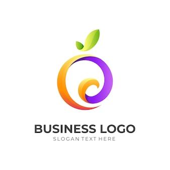 Logo di frutta astratta con illustrazione di design fresco, 3d colorato