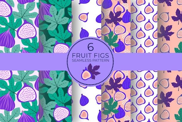 Modello astratto di frutta con fichi, foglie, punti. reticolo senza giunte tropicale con fico, foglie su sfondo rosa. illustrazione vettoriale in stile disegnato a mano. collezione di ornamenti per tessuti, confezioni