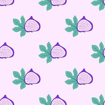 Modello astratto di frutta con fichi e foglie. reticolo senza giunte tropicale con sfondo di foglie e fichi. illustrazione vettoriale in stile disegnato a mano. ornamento per tessile e confezionamento.