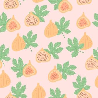 Modello astratto di frutta con fichi e foglie. reticolo senza giunte tropicale con fico e foglie su sfondo verde scuro. illustrazione vettoriale in stile disegnato a mano. ornamento per tessile e confezionamento.