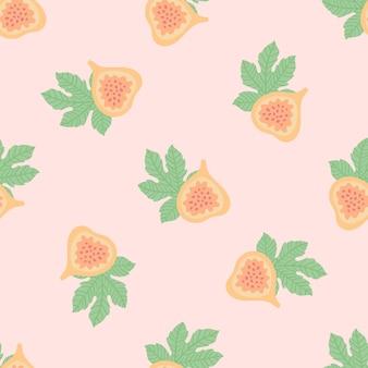 Modello astratto di frutta con fichi e foglie. reticolo senza giunte tropicale con fico e foglie su sfondo rosa. illustrazione vettoriale in stile disegnato a mano. ornamento per tessile e confezionamento.
