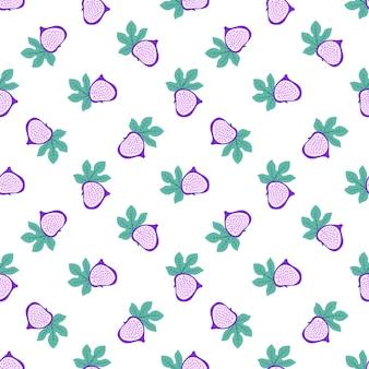 Modello astratto di frutta con fichi e foglie. reticolo senza giunte tropicale con fico e foglie su sfondo bianco. illustrazione vettoriale in stile disegnato a mano. ornamento per tessile e confezionamento.