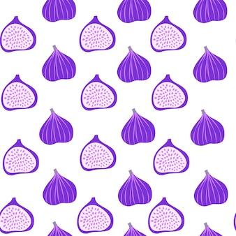 Reticolo astratto della frutta con i fichi. reticolo senza giunte tropicale con fico su sfondo bianco. illustrazione vettoriale in stile disegnato a mano. ornamento per tessile e confezionamento.