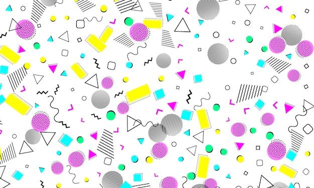 Fondo astratto di divertimento. modello bambino. puntini di colore. stile hipster anni '80-'90. modello astratto funky. elementi geometrici.