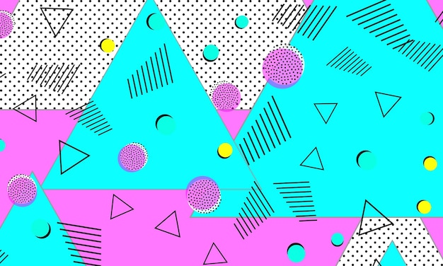 Fondo astratto di divertimento. modello bambino. colori rosa blu. stile hipster anni '80-'90. modello astratto funky. elementi geometrici.
