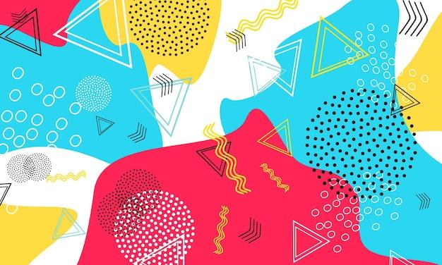 Fondo astratto di divertimento. modello di forme di colore. sfondo divertente splash. illustrazione di vettore.