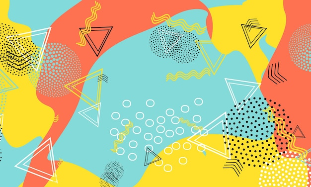 Fondo astratto di divertimento. modello di forme di colore. sfondo divertente splash.