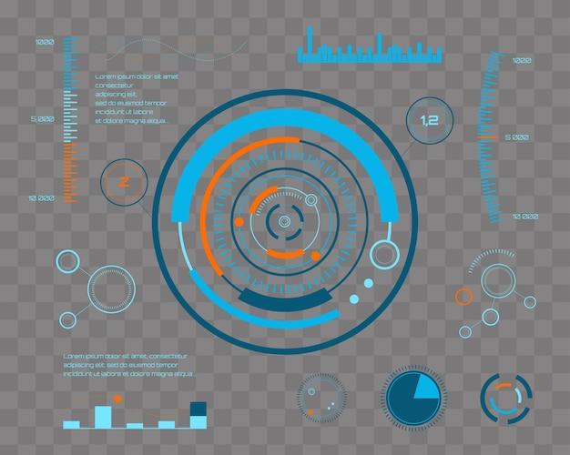 Futuro astratto, interfaccia utente grafica virtuale blu futuristica di tocco di vettore di concetto hud