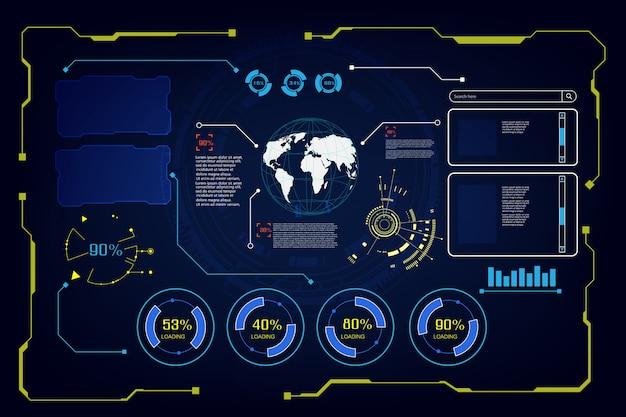 Fondo futuristico astratto di tecnologia dello schermo dell'interfaccia ui di hud ui del futuro