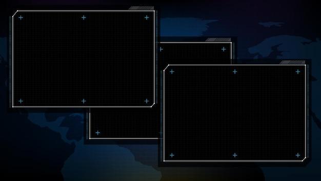 Abstract sfondo futuristico di tecnologia blu e nero sci fi frame documento software display hud ui