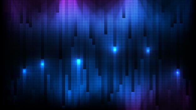 Fondo futuristico astratto della parete blu del bastone del quadrato del collegamento