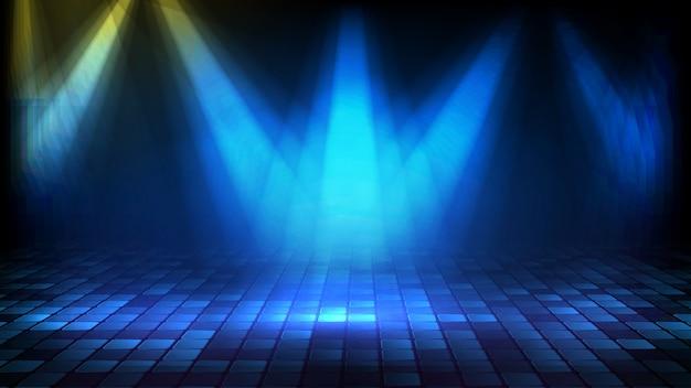 Fondo futuristico astratto delle scale vuote blu della fase coperte di tappeto rosso e di illuminazione del fondo della fase del spotlgiht di illuminazione