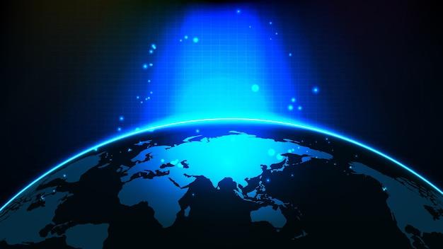 Fondo futuristico astratto di luce blu incandescente e mappe del mondo di cina e asia