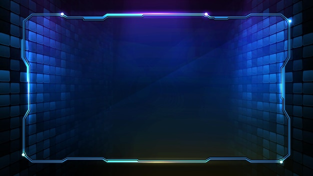 Astratto sfondo futuristico di cornice tecnologica blu incandescente hud ui