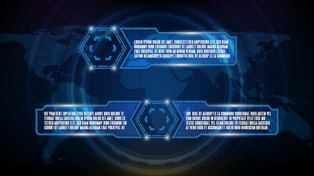 Astratto sfondo futuristico di tecnologia blu incandescente sci fi frame hud ui element