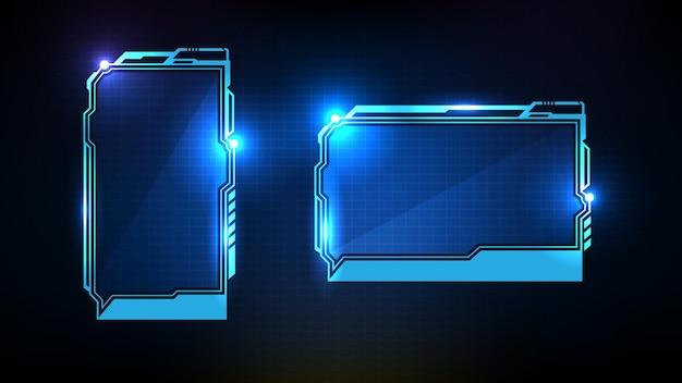 Astratto sfondo futuristico della tecnologia incandescente blu sci fi frame hud ui terzo inferiore