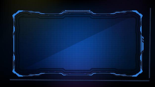 Fondo futuristico astratto. blu brillante tecnologia sci fi frame hud ui