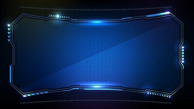 Fondo futuristico astratto. blu brillante tecnologia sci-fi frame hud ui