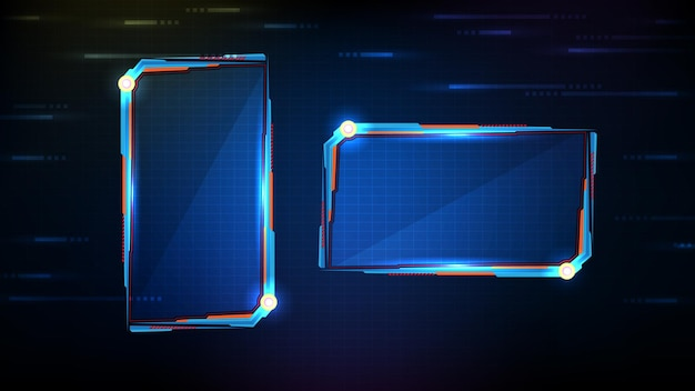 Fondo futuristico astratto dell'interfaccia utente di hud della struttura di sci fi di tecnologia d'ardore blu