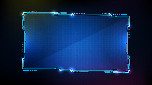 Fondo futuristico astratto dell'interfaccia utente di hud della struttura di fantascienza di tecnologia d'ardore blu
