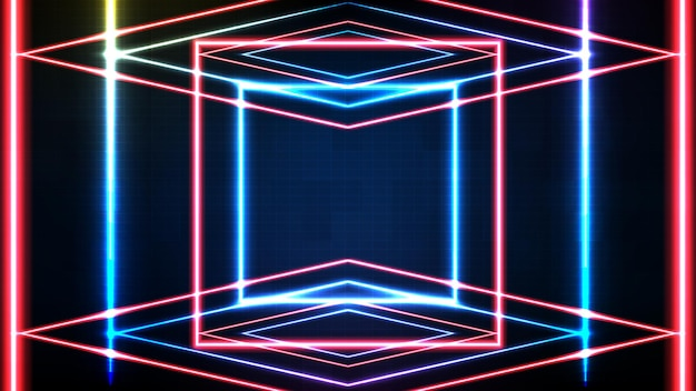 Astratto sfondo futuristico di cornice quadrata al neon blu e illuminazione spotlgiht stage background lighting