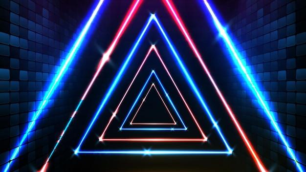 Fondo futuristico astratto della struttura del triangolo al neon blu e fondo della fase spotlgiht di illuminazione