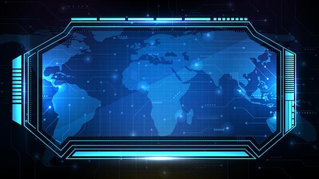 Sfondo futuristico astratto della cornice fantascientifica tecnologia blu, argomento hud ui, terza barra dei pulsanti inferiore