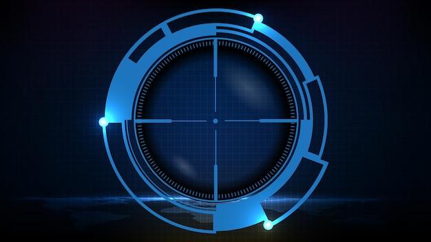 Astratto sfondo futuristico della tecnologia blu mirino da cecchino con segni di misurazione ui hud display sniper pistola a più lunga gittata