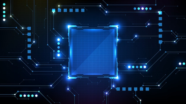 Fondo futuristico astratto dell'interfaccia utente del hud del telaio di fantascienza dell'interfaccia del cerchio con la linea del circuito