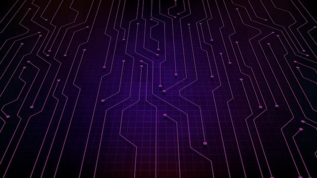 Fondo futuristico astratto della fase vuota con il collegamento del circuito stampato incandescente