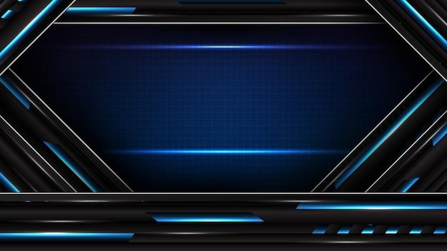 Fondo futuristico astratto della linea blu e nera d'ardore del movimento concetto di fi di sci di tecnologia della struttura dell'interfaccia