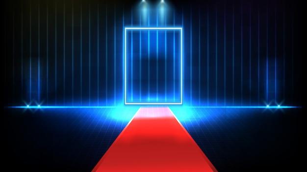 Fondo futuristico astratto del palco vuoto rosso coperto di tappeto rosso e fondo della fase spotlgiht di illuminazione, la chiave del concetto di successo