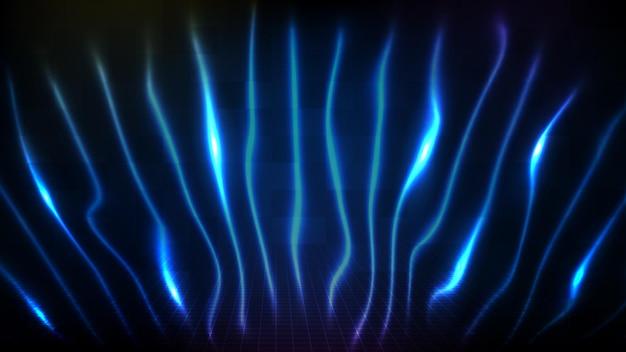 Fondo futuristico astratto della linea al neon in rapido movimento della tecnologia sci fi