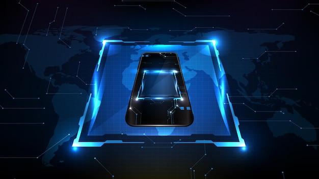 Sfondo futuristico astratto di un telefono cellulare intelligente e un nucleo di elaborazione del circuito interno