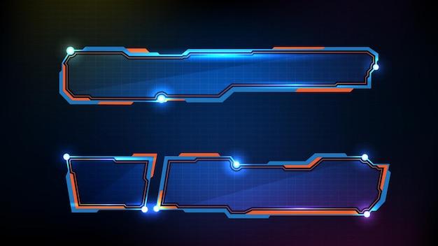 Astratto sfondo futuristico con cornice blu incandescente Vettore Premium