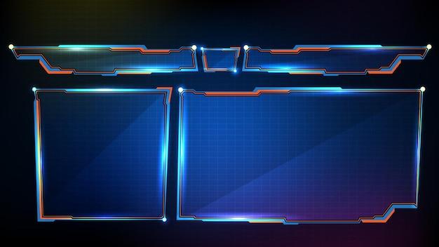 Astratto sfondo futuristico con cornice blu incandescente