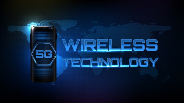 Sfondo futuristico astratto con tecnologia wireless