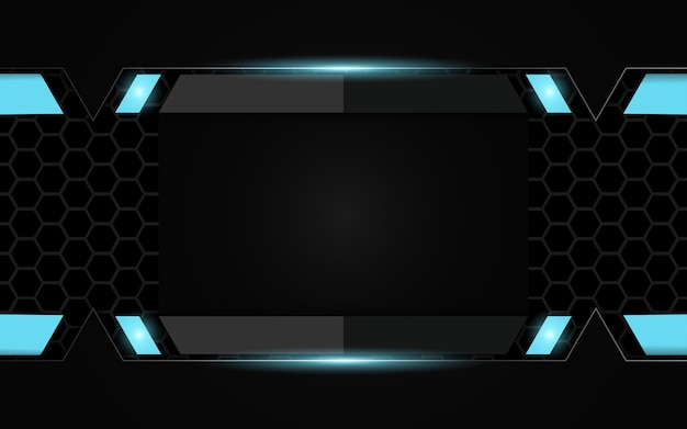 Fondo futuristico astratto di gioco nero e blu